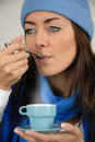 Free Tasting Her Cup Of Coffee Stock Photo - 6888260