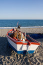 Free Fishing Boat On A Beach Stock Image - 720111