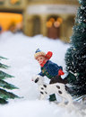 Free Boy And Dog Running In Winter Royalty Free Stock Photos - 7664768