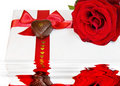 Free Love - Red Rose With Heart And Reflection Stock Photos - 7985853
