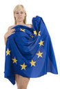 Free Blonde Woman With The European Flag Stock Images - 8136404