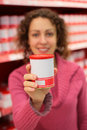 Free Young Woman Holds Jar In Store Royalty Free Stock Image - 8360396
