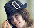 Free Young Woman In Hat With Cunning Look Stock Photography - 8851022