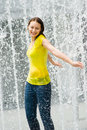 Free Young Caucasian Girl Playing At Fountain Royalty Free Stock Photos - 9409088