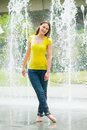 Free Young Caucasian Girl Playing At Fountain Royalty Free Stock Photos - 9409098