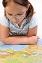 Free Girl Exploring The Map Of Eurasia Stock Image - 9788431