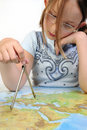 Free Girl Exploring The Map Of Eurasia Royalty Free Stock Photography - 9788437