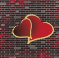 Free Tiled Brick Wall And The Romance Heart Raster Stock Image - 9825681