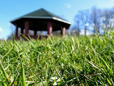 Free Green Grass With Gazebo Stock Photography - 3282