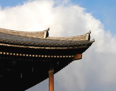 Temple Roof And Cloudy Sky Royalty Free Stock Images