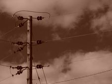 Free Sepia Power Lines With CLouds Stock Photo - 107970