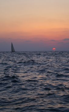 Sunset On A Yacht Stock Images