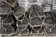 Free Lobster Pots Stacked On Top Of Each Other Stock Photos - 1003093
