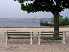 Free Benches Overlooking The Water Stock Photography - 1003792