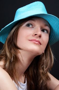 Free Girl With Hat Looking Up Stock Image - 1004991