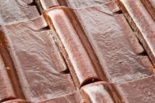 Wet Roofing Tiles (closeup) Royalty Free Stock Photography