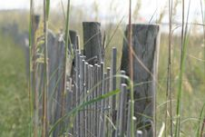 Dune Fence On The Beach Royalty Free Stock Images