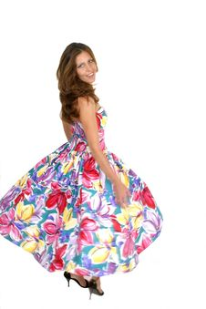 Free Beautiful Woman Spinning In Colorful Dress Stock Photo - 1009670