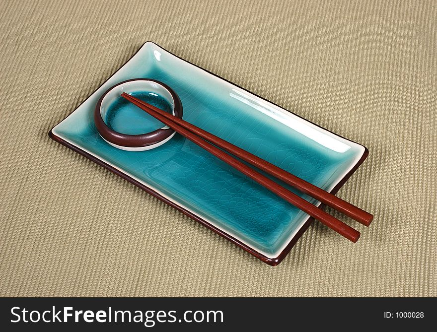 Plate, dipping bowl and chop sticks