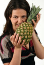 Free Girl With Pineapple Stock Photography - 10007412