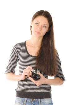 Smiling Girl With Camera In Hands Stock Images