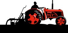 Free Farmer Driving Vintage Tractor Royalty Free Stock Image - 10000566