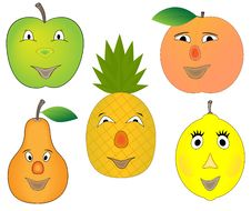 Free Funny Cartoon Fruits Collection Royalty Free Stock Photography - 10000677