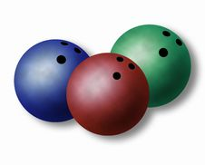 Free Three Bowling Balls Royalty Free Stock Images - 10001279