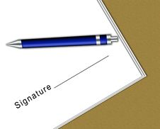Free Contract With Signature Space And A Pen Royalty Free Stock Photos - 10001428