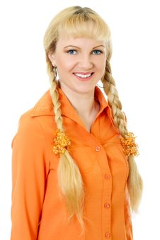 Free Engaging Girl In Orange Clothes Stock Photos - 10001853