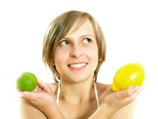 Free Smiling Attractive Girl With Citrus Fruits Stock Photo - 10002850