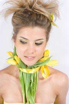 Close-up Fresh Portait With Tulips Royalty Free Stock Photo