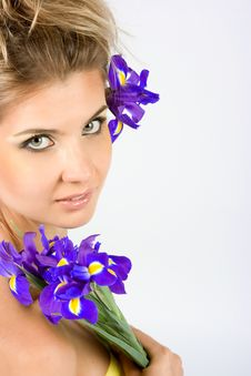 Close-up Fresh Portait With Iris Flowers Royalty Free Stock Images
