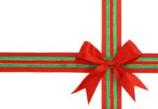 Red And Green Ribbon And Bow Royalty Free Stock Photos