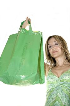 Free Happy Cute Young Woman Shopping Stock Image - 10005051
