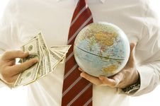 Free Many Banknotesand A Globe Stock Images - 10005234