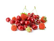 Strawberry And Cherry Royalty Free Stock Photo