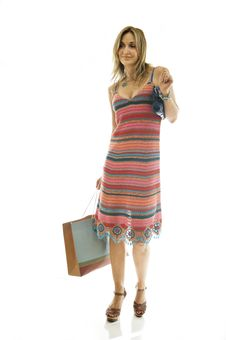 Happy Cute Young Woman Shopping Stock Photo