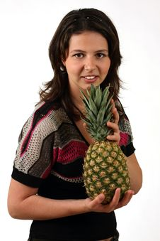 Free Smiling Girl With Pineapple Stock Images - 10007444