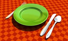 Free Knife, Fork, Spoon And Plate Stock Images - 10008774