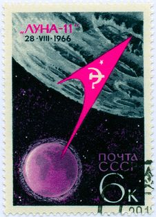 Vintage Stamp About Space Royalty Free Stock Photography