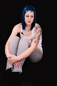 Free Sad Blue Haired Girl. Royalty Free Stock Photography - 10009827