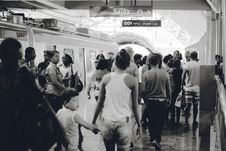 Free Train Station Peoples Black White Stock Photography - 100031112