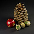 Free Christmas Ball And Paradise Apples With Cone Royalty Free Stock Images - 10018159
