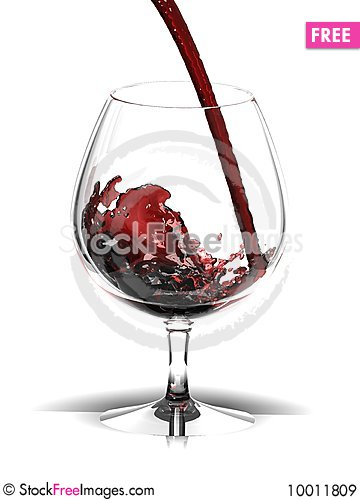 Free Red Wine In Glass Over White Royalty Free Stock Images - 10011809