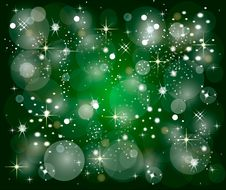 Free Green Christmas Background With Stars Royalty Free Stock Photos - 10010058