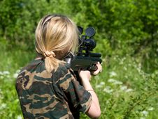 Free The Blonde With A Gun. Stock Photos - 10013243