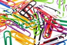 Free Color Paper Clips To Background. Isolated On White Royalty Free Stock Photos - 10014518