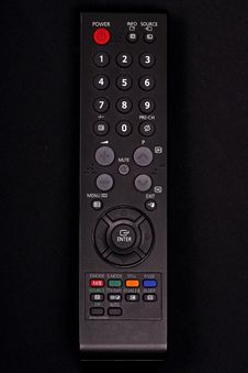 Black Remote Control On Black Background Royalty Free Stock Image