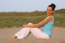 Free Happy Woman On The Beach Stock Images - 10015224